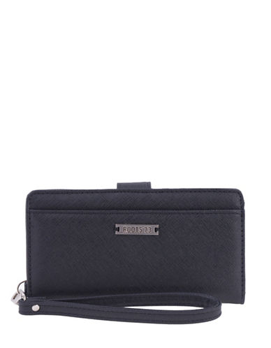 Roots 73 Graphite Saffiano Medium Wristlet Wallet-BLACK-One Size