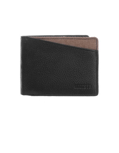 Roots 73 Two-Tone Slim Fold Leather Wallet-BLACK-One Size