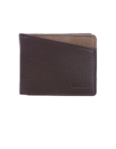 Roots 73 Two-Tone Slim Fold Leather Wallet-BROWN-One Size