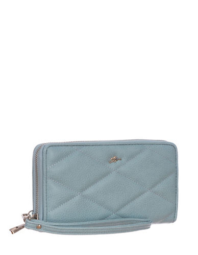 Roots 73 RFID Protection Quilted Clutch Wallet-BLUE-One Size