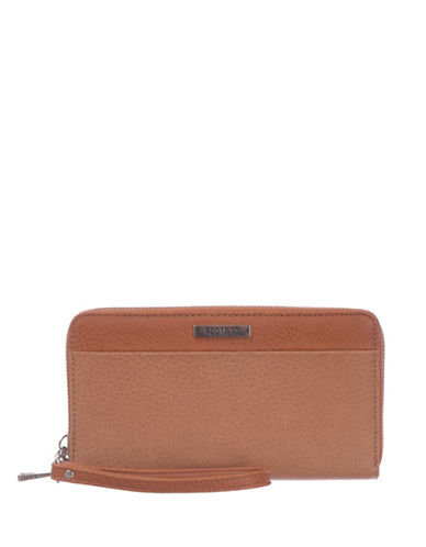 Roots 73 RFID Protection Round Clutch with Wristlet-LATTE-One Size