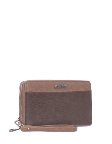 Roots 73 RFID Protection Round Clutch with Wristlet-TAUPE-One Size