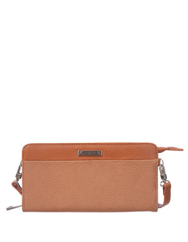 Roots 73 RFID Protection Zip Wallet Clutch-LATTE-One Size