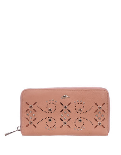 Roots 73 RFID Protection Studded Zip Wallet-PEACH-One Size