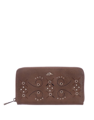 Roots 73 RFID Protection Studded Zip Wallet-BROWN-One Size