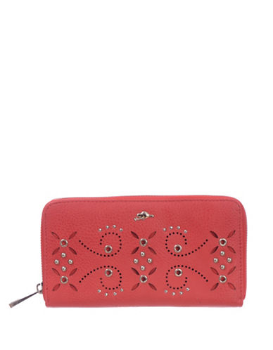 Roots 73 RFID Protection Studded Zip Wallet-PINK-One Size