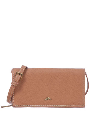 Roots 73 RFID Protection Foldover Pebble Wallet Clutch-BEIGE-One Size