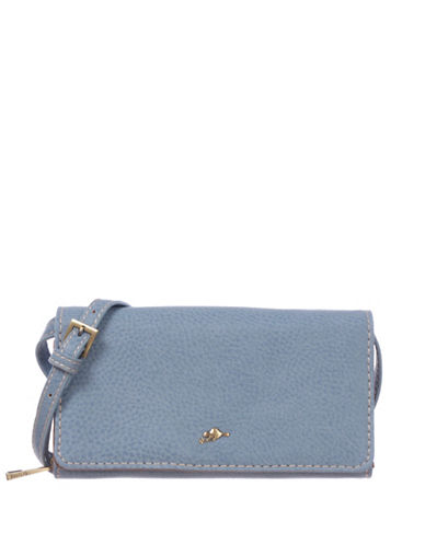 Roots 73 RFID Protection Foldover Pebble Wallet Clutch-BLUE-One Size