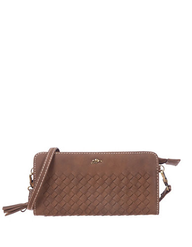 Roots 73 RFID Protection Woven Zip-Around Wallet-BROWN-One Size