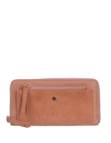 Roots 73 RFID Protection Two-Tone Zip Wallet-PEACH-One Size
