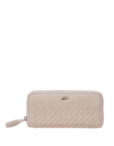 Roots 73 Woven Designed Zip-Around Wallet-SAND-One Size