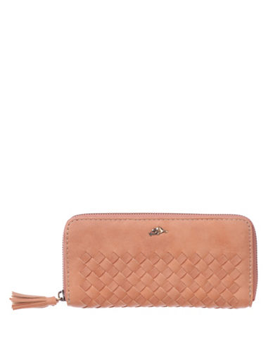 Roots 73 Woven Designed Zip-Around Wallet-PEACH-One Size