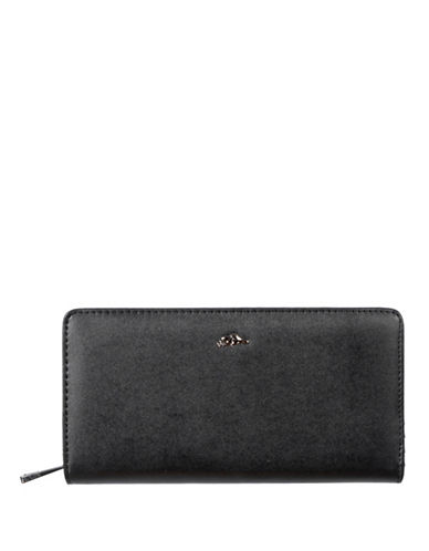 Roots 73 Slim Zip-Around Wallet-BLACK-One Size