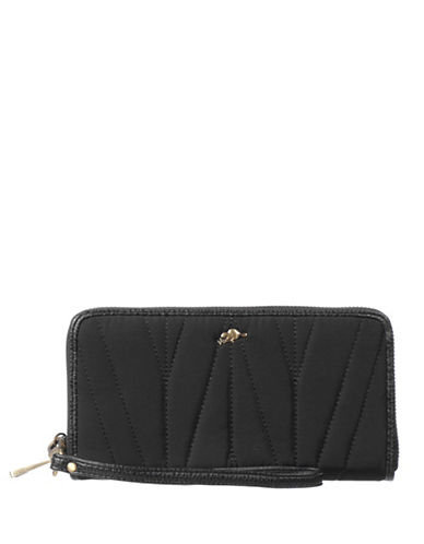 Roots 73 Quilted Zip-Around Wallet-BLACK-One Size