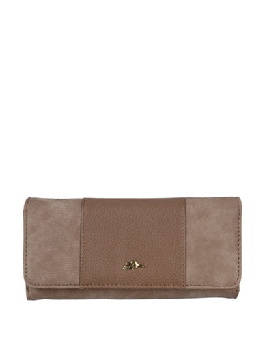 Roots 73 Two-Tone Continental Wallet-BEIGE-One Size
