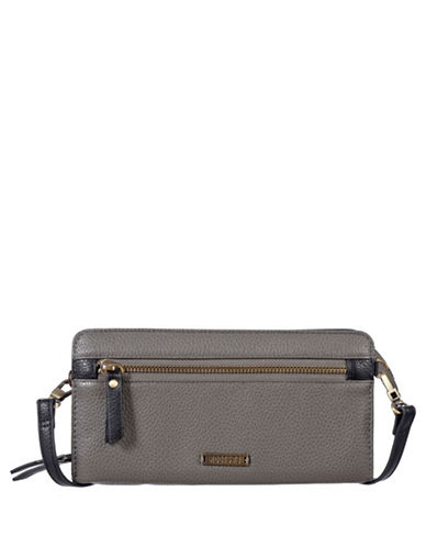 Roots 73 Textured Convertible Zip-Around Wallet-CHARCOAL-One Size