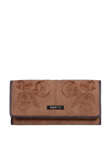 Roots 73 Slim Floral Tri-Fold Continental Wallet-BROWN-One Size