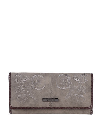 Roots 73 Slim Floral Tri-Fold Continental Wallet-TAUPE-One Size