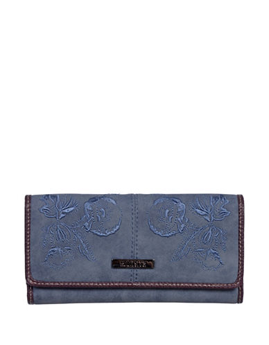 Roots 73 Slim Floral Tri-Fold Continental Wallet-DENIM-One Size