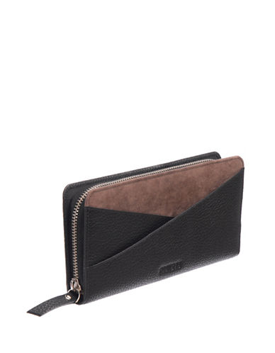 Roots 73 Slim Leather Zip Continental Wallet-BLACK-One Size
