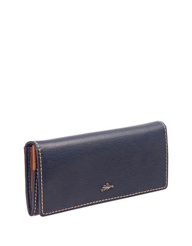 Roots 73 Slim Leather Continental Wallet-BLUE-One Size
