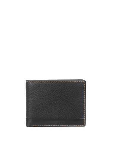 Roots 73 Textured Slimfold Wallet-BLACK-One Size
