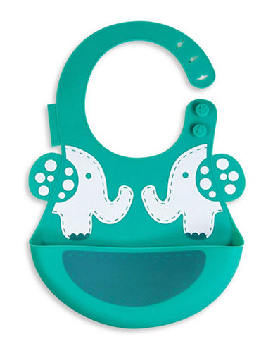 Marcus & Marcus Ollie the Elephant Silicone Baby Bib-GREEN-One Size