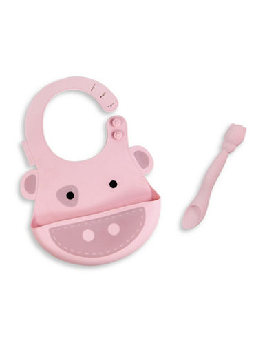 Marcus & Marcus Pokey the Pig Silicone Baby Bib and Feeding Spoon Set-PINK-One Size