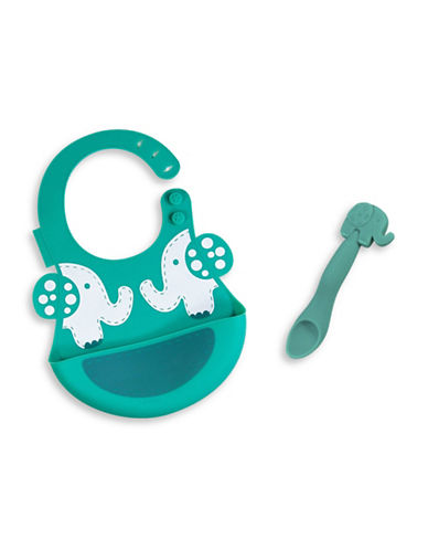 Marcus & Marcus Ollie the Elephant Silicone Baby Bib and Feeding Spoon Set-GREEN-One Size