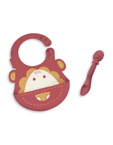 Marcus & Marcus Marcus the Lion Silicone Baby Bib and Feeding Spoon Set-RED-One Size