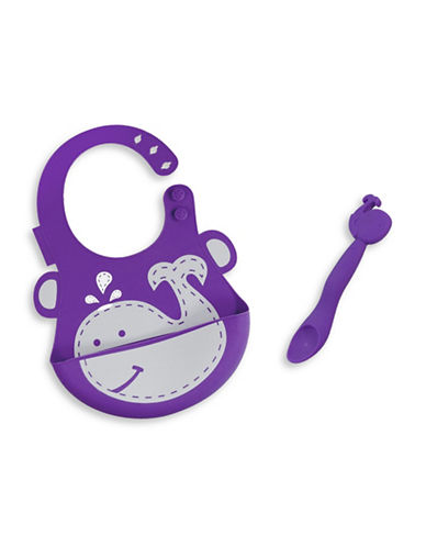 Marcus & Marcus Willo the Whale Silicone Baby Bib and Feeding Spoon Set-PURPLE-One Size