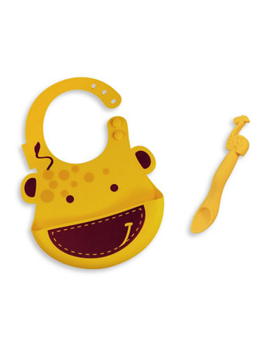 Marcus & Marcus Lola the Giraffe Silicone Baby Bib and Feeding Spoon Set-YELLOW-One Size