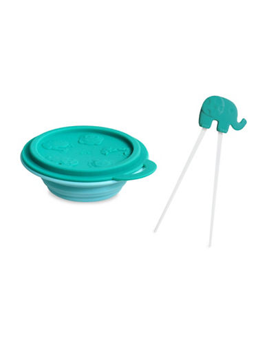 Marcus & Marcus Ollie the Elephant Collapsible Bowl and Chopsticks Set-GREEN-One Size