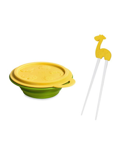 Marcus & Marcus Lola the Giraffe Collapsible Bowl and Chopsticks Set-YELLOW-One Size