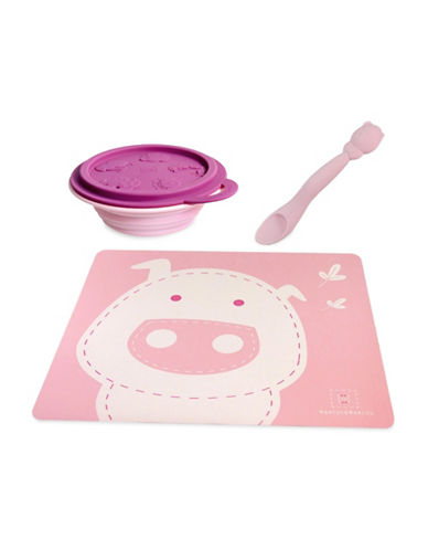 Marcus & Marcus Pokey the Pig Placemat, Bowl and Feeding Spoon Set-PINK-One Size