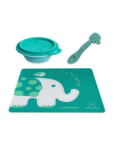 Marcus & Marcus Ollie the Elephant Placemat, Bowl and Feeding Spoon Set-GREEN-One Size