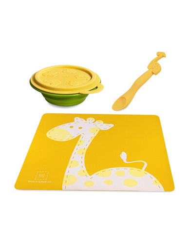 Marcus & Marcus Lola the Giraffe Three-Piece Bowl Set-YELLOW-One Size