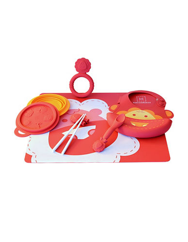Marcus & Marcus Marcus the Lion Silicone Baby Feeding Six-Pack-RED-One Size