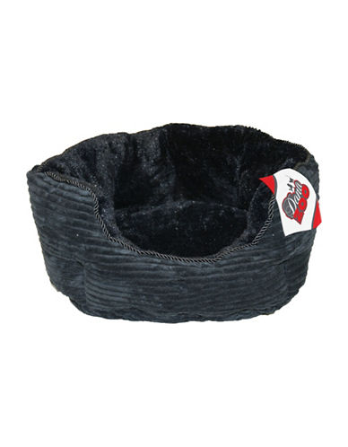 Danazoo Small Corduroy Cuddler Pet Bed-BLACK-One Size