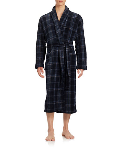 Black Brown 1826 Striped Plaid Fleece Robe-NAVY/CHARCOAL-Large/X-Large