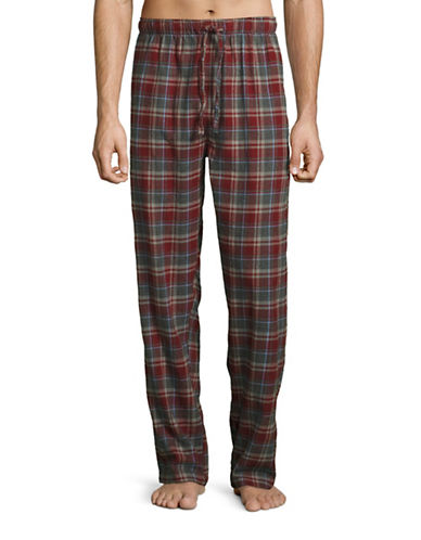 Hudson North Plaid Flannel Lounge Pants-RED/GREY-X-Large plus size,  plus size fashion plus size appare
