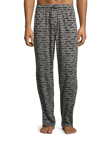 Hudson North Moustache-Print Lounge Pants-GREY-Small 88710329_GREY_Small