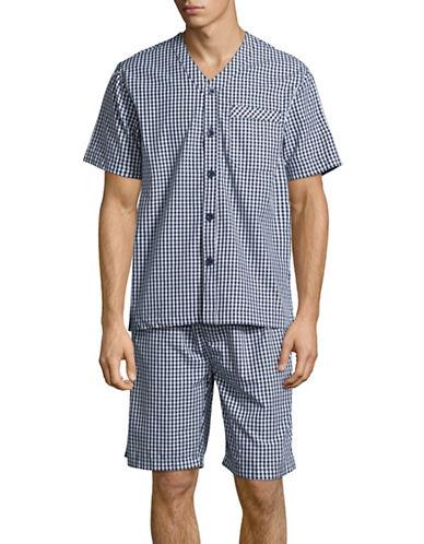 Black Brown 1826 Two-Piece Poplin Shorts Pyjama Set-NAVY GINGHAM-Small