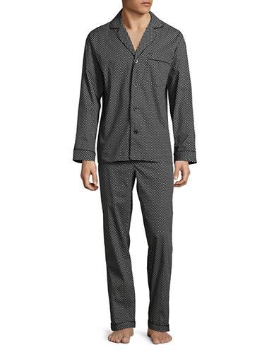 Black Brown 1826 Two-Piece Cotton Sateen Diamond Pyjama Set-BLACK DIAMOND-Medium