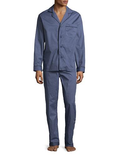 Black Brown 1826 Two-Piece Cotton Sateen Diamond Pyjama Set-BLUE-Medium