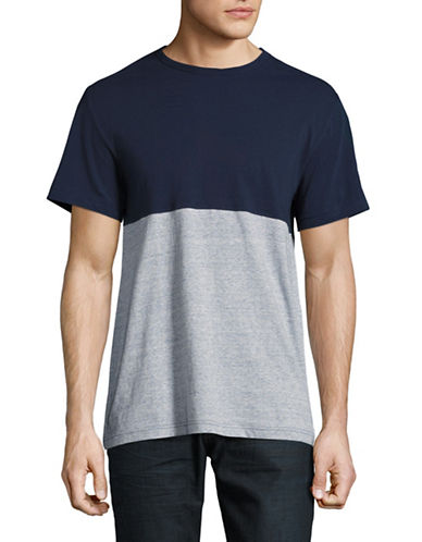 Black Brown 1826 Colourblock Crew Neck T-Shirt-STORM BLUE-Medium