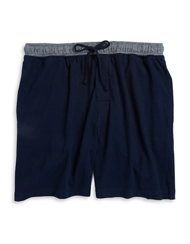 Black Brown 1826 Contrast Waist Knit Shorts-SOLID NAVY-Small