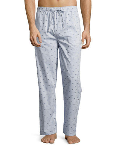 Black Brown 1826 Printed Poplin Pyjama Pants-BLUE-Large