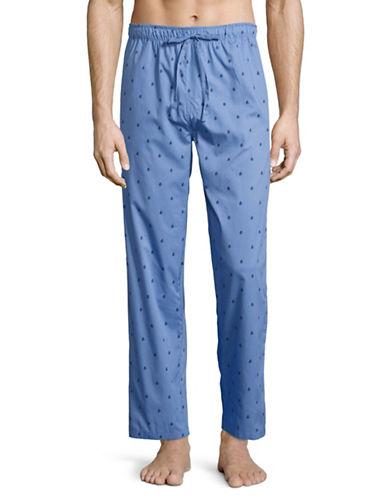 Black Brown 1826 Printed Poplin Pyjama Pants-BLUE-Small 89161437_BLUE_Small