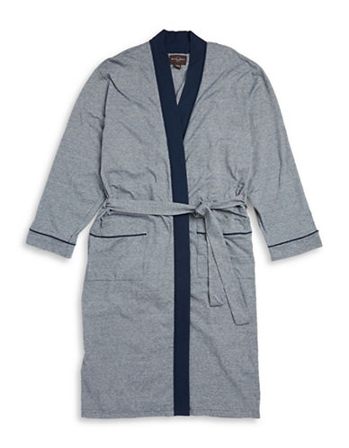 Black Brown 1826 Striped Cotton-Blend Robe-NAVY-Large/X-Large